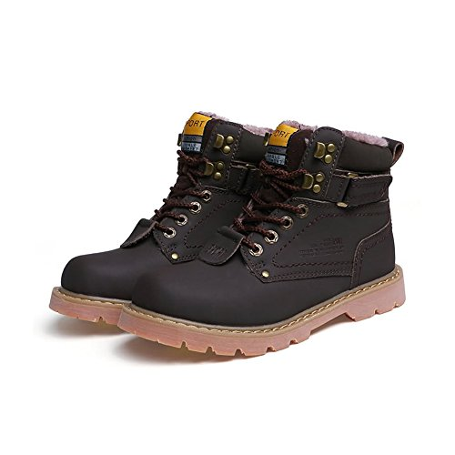 Tan Boots Snowshoes - MYC Men's Waterproof Boots Ankle Sneakers Warm Rain Snow Shoes Blue 9.5in Brown