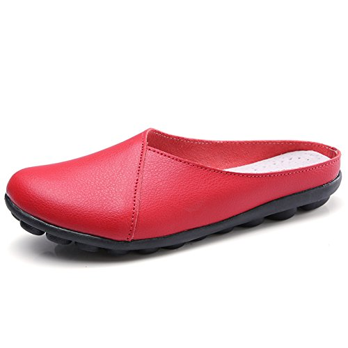 LINGTOM Women's Loafers Casual Genuine Leather Moccasin Shoes Flat for Driving Q-red