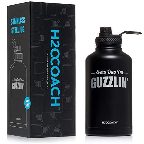 H2OCOACH Half Gallon Water Bottle Jug Stainless Steel 64oz
