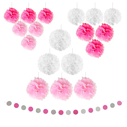 19pcs Pink & Silver Banner Tissue Paper Pompom Party Decorations & Circle Dots Paper Glitter by Belle Vous - Hanging Paper Garland for Birthday Decor & Crafts & all Events - And Silver Pink