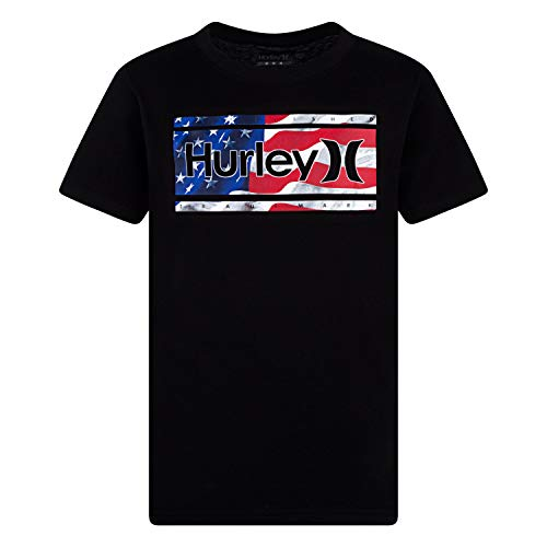 Hurley Boys' Little One and Only Graphic T-Shirt, Black/Americana, 6 - Hurley Kids Shirt