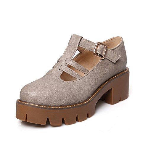 BalaMasa Ladies Buckle Kitten-Heels Solid Microfiber Pumps-Shoes Gray euWx0QhISk