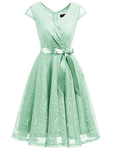Mint Womens Dress - DRESSTELLS Short V Neck Bridesmaid Ruched Dress Lace Cocktail Dresses With Belt Mint L