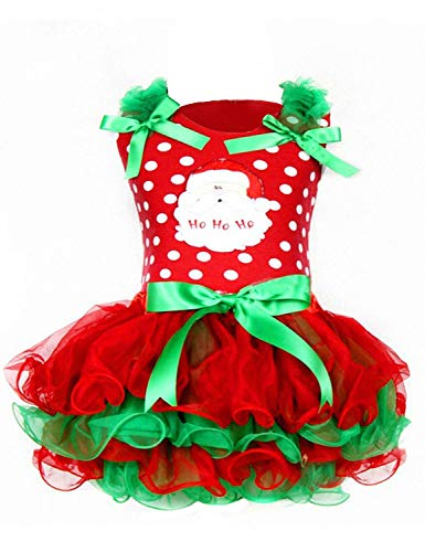 NNJXD Christmas Toddler Baby Girls Outfits Polka Dot Xmas Tutu Dress Santa Claus Pattern Red Dresses Size 4-5 Years Red&Green