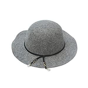 Hats in The Spring and Autumn Season, Pure Wool Top Hat for Womens Mens Cap Fashion (Color : Gray, Size : M)