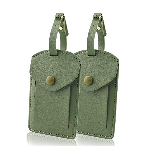 Kevancho Leather Luggage Tags for Men Women, Suitcase Labels Baggage Bag Tag ID Tags with Full Back Privacy Cover for Cruise Ships, Travel Accessories Tags Set of 2 PCS (Green)