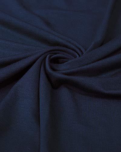 Midi Button Down Dress Women's Loose Sleeve Long Swing II with Casual Pockets Navy ININ XxfpwYnqz