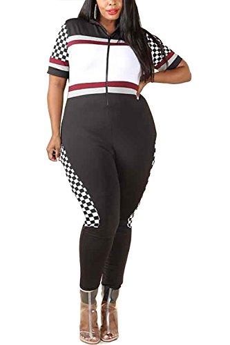 Black Racer Jumpsuit - GENx Womens Plus Size Colorblock Contrast Racer Checker Panel Jumpsuit GNJ4152 (XL, Black)
