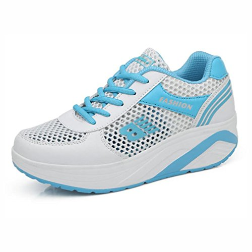 Damenschuhe, Sommer Breathable Openwork Mesh Sneakers, Dicksohlen Mode Outdoor-Reisen Schuhe, Casual Laufschuhe, (Farbe : B, Größe : 38) EIN
