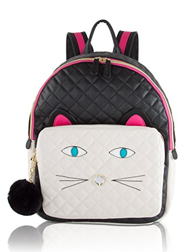 Betsey Johnson Quilted Face Large Backpack (Black/White)
