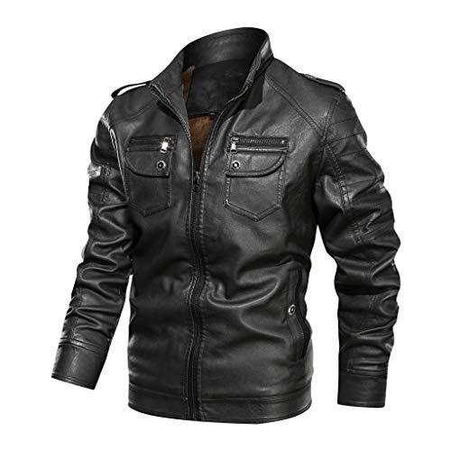 ZEFOTIM Trench Coats for Men, Autumn Winter Vintage Zipper Stand Collar Solid Imitation Leather Coat(K-Black,Large)