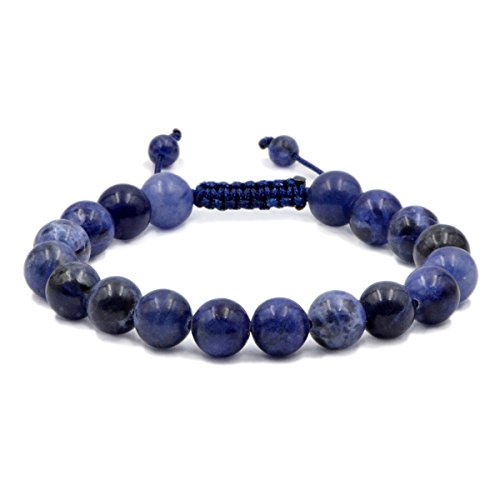 AD Beads Natural 10mm Gemstone Bracelets Healing Power Crystal Macrame Adjustable 7-9 Inch (Sodalite) (Sodalite Gemstone Bracelet)
