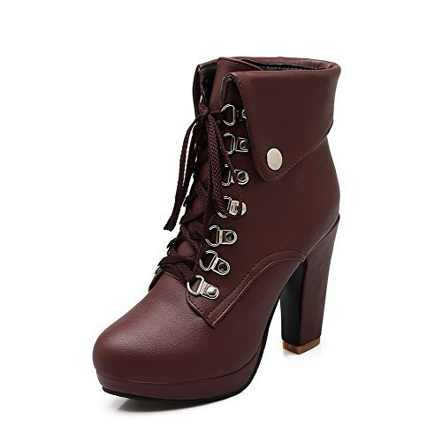 AgooLar Women's Soft Material Round Closed Toe High Heels Lace up Solid Boots Brown SQBqBOl8T6