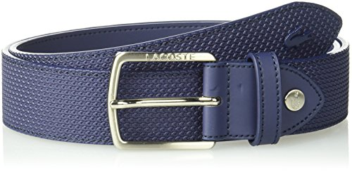 Lacoste Men's 35mm Stitched Raw Edges Belt, Peacoat, US 34/EU 85 by Lacoste (Image #2)'