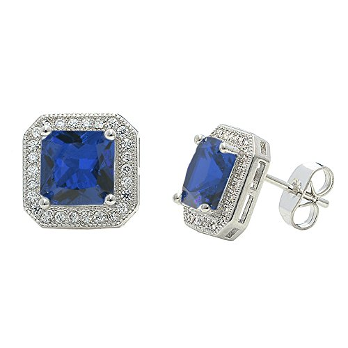 Cate & Chloe Londyn 18k Gold Plated Princess Cut CZ Halo Stud Earrings, Sparkling Cluster Stud Earring Set w/Solitaire Princess Blue Sapphire Gemstone, Wedding Anniversary Jewelry from Cate & Chloe