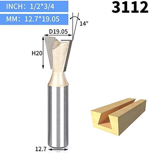 """GENERICS LSB-Werkzeuge, 1 stücke 1/2""""1/4"""" Schaft Holz Cutter Schwalbenschwanz Bits 2 flöte Fräser for Holz Hartmetall Gravur Werkzeug Fräser (Cutting Edge Length : 3112)"""