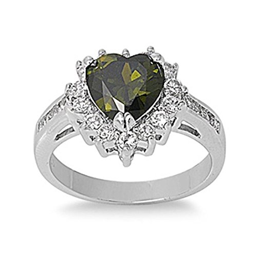 Blue Apple Co. Heart Promise Ring Simulated Deep Olivine Green Peridot Round Cubic Zirconia 925 Sterling Silver