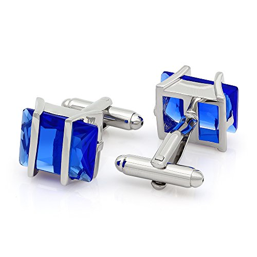 (Kemstone Sapphire Cubic Zirconia Crystal Cufflinks Silver Tone Jewelry for Men)
