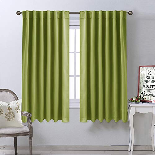 NICETOWN Bedroom Curtains Blackout Drapery Panels - (Grass Green Color) W52 x L63, Double Panels, Window Treatment Blackout Drapery for Christmas Windows