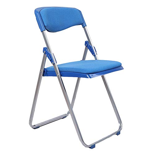 - ZENGAI Luxury Filled Steel Fabric Folding Chair, 3 Colors (Color : Blue, Size : 41.5x49x79cm)