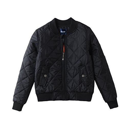 Hiheart Little Boys MA-1 Flight Quilted Bomber Padded Jackets Black 4T