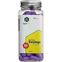 AdirPro Doctor Recommended, Comfortable Fit, Premium Ultra Soft Foam Ear Plugs For Hearing Protection, Construction Sites, Hunting, Shooting, Concerts, Sleeping, and Snoring -50 Pairs