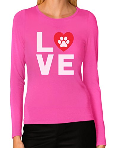 Animal Lover Dog Paw Print - Love Dogs My Best Friend Women Long Sleeve T-Shirt X-Large Pink ()