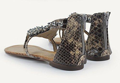 Crc Dames Romeinse Stijl Open Teen Steentjes Casual Comfortabele Synthetische Flip-flop Flats Sandalen Grijs
