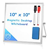 Small Dry Erase White Board for Desk 10' X 10', Arcobis Magnetic Double Sided Personal Desktop Tabletop Dry Erase Board Easel Board with Stand for Kids Home Office