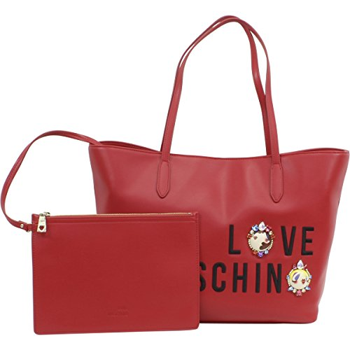 Love Moschino Women's Red Embroidered & Jeweled Logo Tote Satchel Handbag by Love Moschino (Image #1)