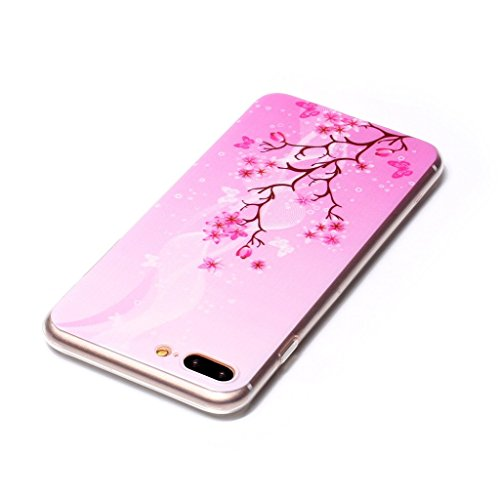 """iPhone 7 Plus Coque , Leiai Mode Transparent Ultra-mince Arbre Papillon Silicone Doux TPU Housse Gel Etui Case Cover pour Apple iPhone 7 Plus 5.5"""""""