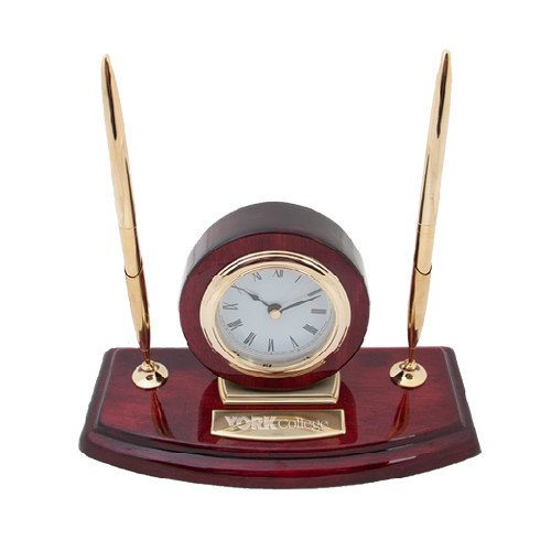 York College Executive Wood Clock and Pen Stand 'Official Logo Engraved' by CollegeFanGear