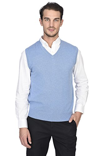 State Cashmere Men's 100% Pure Cashmere Regular Fit Pullover Casual Sweater - Vest Sweater Cable Cashmere