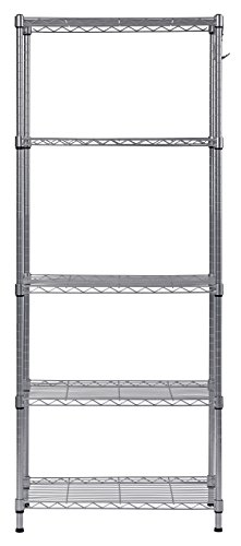 - Muscle Rack WS241459-5S 5 Tier Wire Shelving with Hooks in Silver, 59