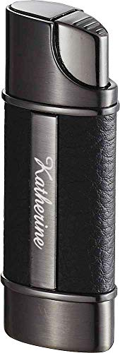 (Personalized Visol Piccolo Leather & Gunmetal Torch Flame Lighter with Free Laser Engraving)