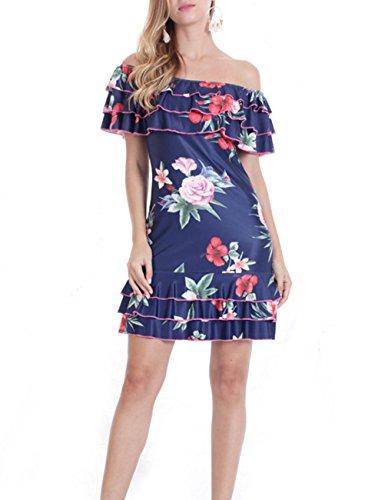 QueenSeven Women Summer Off Shoulder Floral Beach Midi Dress(XL,Navy Blue) ()