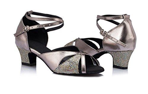 Tda Mujeres Peep Toe Kitten Talón De Cuero De La Pu Brillo Latino Moderno Samba Rumba Boda Zapatos De Baile De Plata