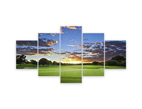 AMEMNY 5 Panel Green Golfcourse Picture Wall Art Paintings on Canvas Home Decor Modern Posters and Prints for Living Room Golfer or Golf Enthusiast Gift Artwork Framed Ready to Hang