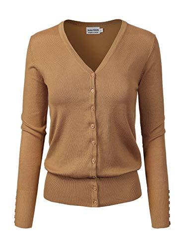 Instar Mode Women's Classic Button Down Long Sleeve V-Neck Soft Knit Sweater Cardigan [S-3XL] Camel S ()