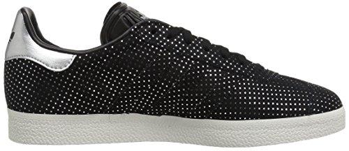 Adidas Originals Women's Gazelle W Sneaker, Black/Black/Silver Metallic, 9.5 M US
