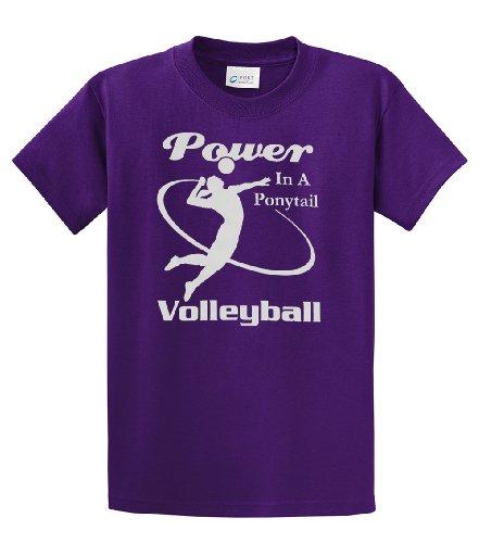 Volleyball T-shirt Power In the Ponytail Team Sport-purple-medium