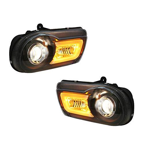 2PCS Headlight Assemblies For Chrysler 300C 2005-2010 Bi-Xenon Lens Projector Double Beam Xenon HID KIT With LED Daytime Running Lights