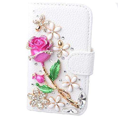 iPhone 6s Wallet Case, Black Lemon Handmade Luxury 3D Bling Crystal Rhinestone Leather Purse Flip Card Pouch Stand Cover Case for iPhone 6 6s 4.7 Inch (Rose Flower)