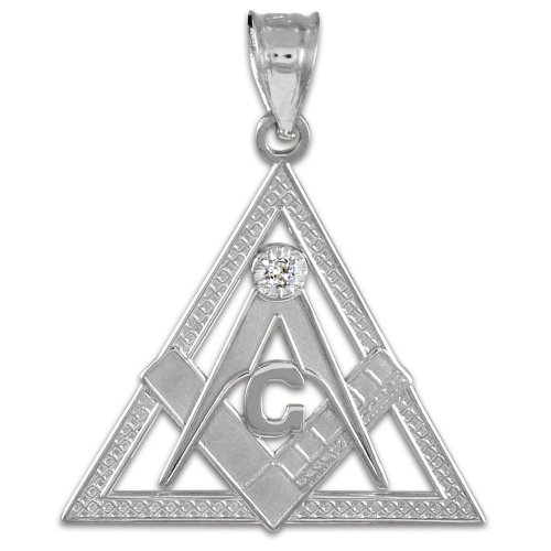 925 Sterling Silver Freemason Triangle Masonic CZ Pendant