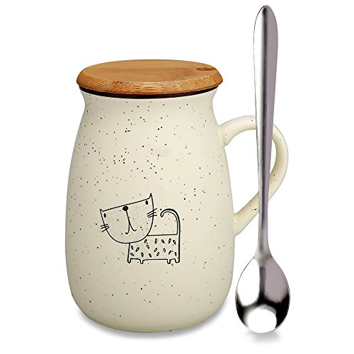 Coffee Mug Cute Ceramic Creative Cat Mug Lovely Tea Cup with Wooden Lid and Spoon Novelty Coffee Mugs-Perfect Gift for Mom/ friends/girlfriends/Cat Lovers. (CAT-4)