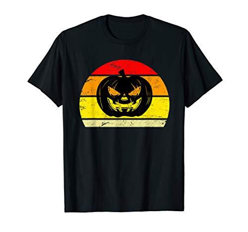Creepy Horror Halloween Pumpkin Sunset Silhouette   T-Shirt]()