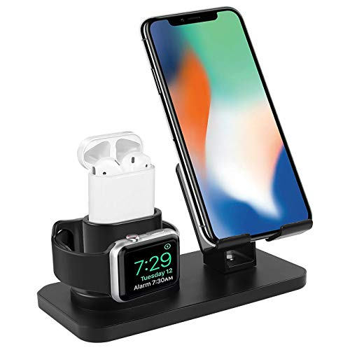 Smartelf 3 in 1 Charging Stand for Apple Watch Series 5/4/3/2/1,Charging Dock Station for AirPods 1/2,Phone Holder for iPhone 11/11 Pro/11 Pro Max/X/XS/XS Max/XR/8/8 Plus/7/7 Plus/6S/6S Plus-Black