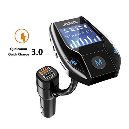 Bluetooth FM Transmitter for Car with Quick Charge 3.0 Wireless In-Car Radio Transmitter Adapter Support AUX Input/TF Card/USB Flash Drive/Hands-Free Calling