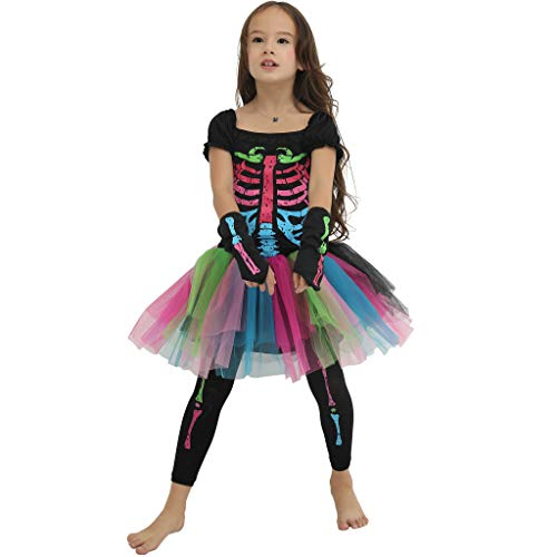 EraSpooky Girl's Halloween Skeleton Costumes Scary Kids Colorful Dress Costumes for Girls - Funny Cosplay Party -
