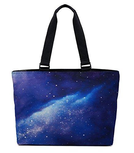 - Printed Canvas Spacious Large Travel Shoulder Tote Bag Handbag - Galaxy Universe